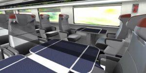 interiér vozů na vysokorychlostních tratích