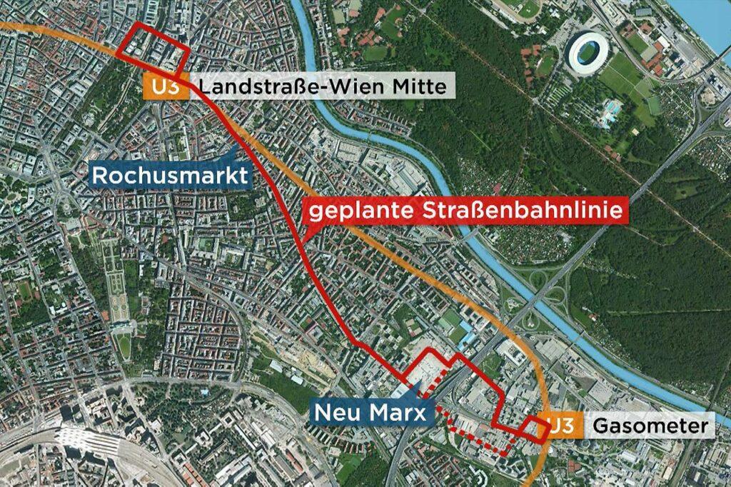 návrh vedení trasování tramvaje, autor nákresu ORF