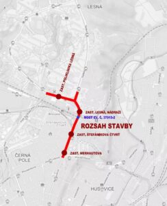 Propojení tramvajových tratí na severu Brna. Pramen: DPMB/dokumentace EIA