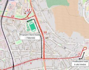 návrh trasování MHD ulici Gajdošova