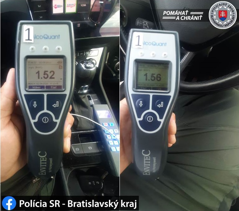 výsledek testu na alkohol Policia Slovenskej republiky, Bratislava