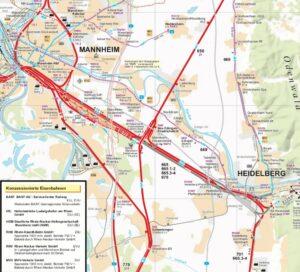 Mapa tratě Mannheim - Heidelberg