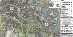 trasa plánované tramvajové tratě v Pisse