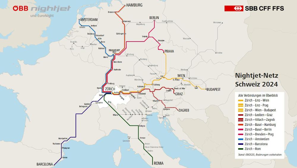 SBB a ÖBB s novou sítí nočních vlaků