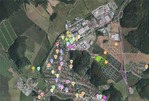 Ortfo mapa obchodů a služeb ve městě Kuřim, včetně školních zařízení (Autor Imos Develepment)